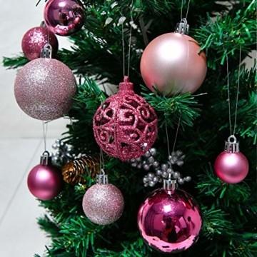 YILEEY Weihnachtskugeln Weihnachtsdeko Set Rosa 101 STK in 9 Farben, Kunststoff Weihnachtsbaumkugeln Box mit Aufhänger Christbaumkugeln Plastik Bruchsicher, Weihnachtsbaumschmuck, MEHRWEG - 5
