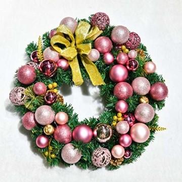 YILEEY Weihnachtskugeln Weihnachtsdeko Set Rosa 101 STK in 9 Farben, Kunststoff Weihnachtsbaumkugeln Box mit Aufhänger Christbaumkugeln Plastik Bruchsicher, Weihnachtsbaumschmuck, MEHRWEG - 6