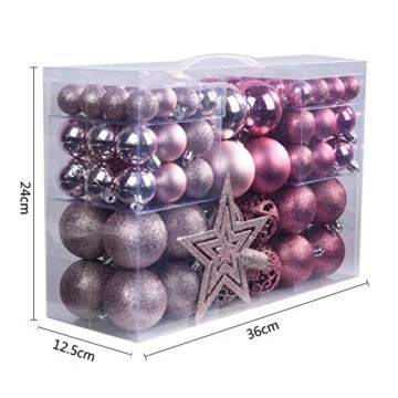 YILEEY Weihnachtskugeln Weihnachtsdeko Set Rosa 101 STK in 9 Farben, Kunststoff Weihnachtsbaumkugeln Box mit Aufhänger Christbaumkugeln Plastik Bruchsicher, Weihnachtsbaumschmuck, MEHRWEG - 7