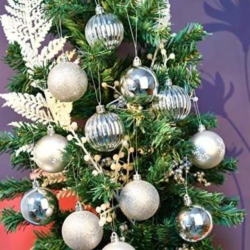 YILEEY Weihnachtskugeln Weihnachtsdeko Set Silber 24 STK in 4 Farben, Kunststoff Weihnachtsbaumkugeln Box mit Aufhänger Christbaumkugeln Plastik Bruchsicher, Weihnachtsbaumschmuck, MEHRWEG - 2