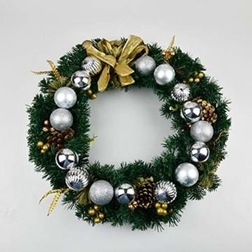 YILEEY Weihnachtskugeln Weihnachtsdeko Set Silber 24 STK in 4 Farben, Kunststoff Weihnachtsbaumkugeln Box mit Aufhänger Christbaumkugeln Plastik Bruchsicher, Weihnachtsbaumschmuck, MEHRWEG - 5