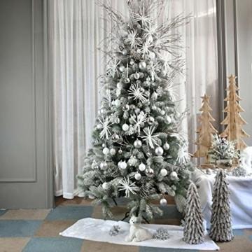 YILEEY Weihnachtskugeln Weihnachtsdeko Set Silber 24 STK in 4 Farben, Kunststoff Weihnachtsbaumkugeln Box mit Aufhänger Christbaumkugeln Plastik Bruchsicher, Weihnachtsbaumschmuck, MEHRWEG - 6
