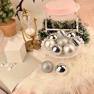 YILEEY Weihnachtskugeln Weihnachtsdeko Set Silber 24 STK in 4 Farben, Kunststoff Weihnachtsbaumkugeln Box mit Aufhänger Christbaumkugeln Plastik Bruchsicher, Weihnachtsbaumschmuck, MEHRWEG - 7
