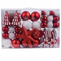 YILEEY Weihnachtskugeln Weihnachtsdeko Set Weiß und Rot 108 STK in 14 Farben, Kunststoff Weihnachtsbaumkugeln Box mit Aufhänger Christbaumkugeln Plastik Bruchsicher, Weihnachtsbaumschmuck, MEHRWEG - 1