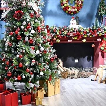 YILEEY Weihnachtskugeln Weihnachtsdeko Set Weiß und Rot 108 STK in 14 Farben, Kunststoff Weihnachtsbaumkugeln Box mit Aufhänger Christbaumkugeln Plastik Bruchsicher, Weihnachtsbaumschmuck, MEHRWEG - 4