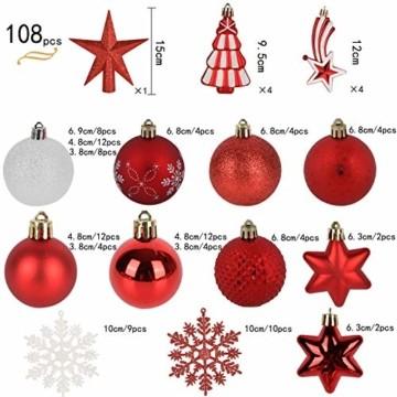 YILEEY Weihnachtskugeln Weihnachtsdeko Set Weiß und Rot 108 STK in 14 Farben, Kunststoff Weihnachtsbaumkugeln Box mit Aufhänger Christbaumkugeln Plastik Bruchsicher, Weihnachtsbaumschmuck, MEHRWEG - 5