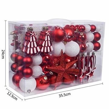 YILEEY Weihnachtskugeln Weihnachtsdeko Set Weiß und Rot 108 STK in 14 Farben, Kunststoff Weihnachtsbaumkugeln Box mit Aufhänger Christbaumkugeln Plastik Bruchsicher, Weihnachtsbaumschmuck, MEHRWEG - 6