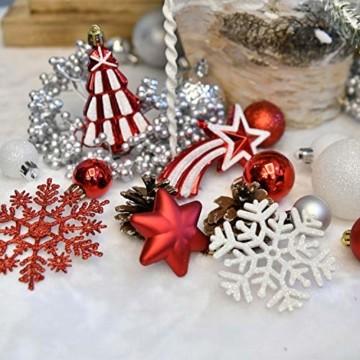 YILEEY Weihnachtskugeln Weihnachtsdeko Set Weiß und Rot 108 STK in 14 Farben, Kunststoff Weihnachtsbaumkugeln Box mit Aufhänger Christbaumkugeln Plastik Bruchsicher, Weihnachtsbaumschmuck, MEHRWEG - 7