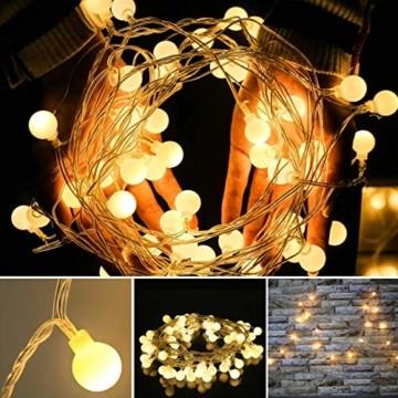 Yinuo Candle Kugel Lichterketten,15M LED Lichtkette mit Speicherfunktion,Weihnachtslicht Außen/Innen mit Stecker,ideale Partydekoration,Kinderzimmer,Balkone,Weihnachtslichter etc.(warmweiß) - 3