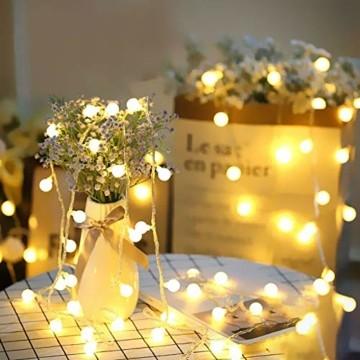 Yinuo Candle Kugel Lichterketten,15M LED Lichtkette mit Speicherfunktion,Weihnachtslicht Außen/Innen mit Stecker,ideale Partydekoration,Kinderzimmer,Balkone,Weihnachtslichter etc.(warmweiß) - 5