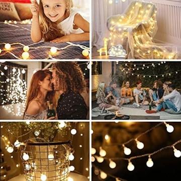 Yinuo Candle Kugel Lichterketten,15M LED Lichtkette mit Speicherfunktion,Weihnachtslicht Außen/Innen mit Stecker,ideale Partydekoration,Kinderzimmer,Balkone,Weihnachtslichter etc.(warmweiß) - 6