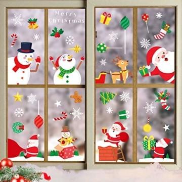 Yitla Weihnachtsdeko Fenster Doppelseitiges Muster,218 Fensterbilder Weihnachten Selbstklebend, Weihnachten Fenstersticker für Weihnachten Winter Dekoration (8 Sheets) - 3