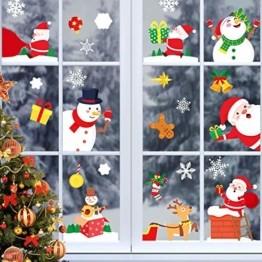 Yitla Weihnachtsdeko Fenster Doppelseitiges Muster,218 Fensterbilder Weihnachten Selbstklebend, Weihnachten Fenstersticker für Weihnachten Winter Dekoration (8 Sheets) - 1