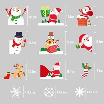 Yitla Weihnachtsdeko Fenster Doppelseitiges Muster,218 Fensterbilder Weihnachten Selbstklebend, Weihnachten Fenstersticker für Weihnachten Winter Dekoration (8 Sheets) - 4