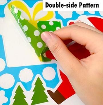 Yitla Weihnachtsdeko Fenster Doppelseitiges Muster,218 Fensterbilder Weihnachten Selbstklebend, Weihnachten Fenstersticker für Weihnachten Winter Dekoration (8 Sheets) - 5