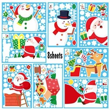 Yitla Weihnachtsdeko Fenster Doppelseitiges Muster,218 Fensterbilder Weihnachten Selbstklebend, Weihnachten Fenstersticker für Weihnachten Winter Dekoration (8 Sheets) - 6