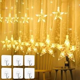 YQHbe Led Sterne Lichterkette, 12 Sterne Lichtervorhang Fenster Weihnachten Warmweiß Fensterbeleuchtung Weihnachtsdeko Mit Weihnachtsbeleuchtung Fensterdeko FüR Innen - 1