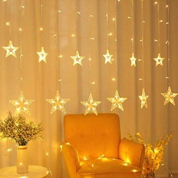 YQHbe Led Sterne Lichterkette, 12 Sterne Lichtervorhang Fenster Weihnachten Warmweiß Fensterbeleuchtung Weihnachtsdeko Mit Weihnachtsbeleuchtung Fensterdeko FüR Innen - 4