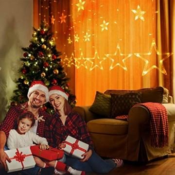 YQHbe Led Sterne Lichterkette, 12 Sterne Lichtervorhang Fenster Weihnachten Warmweiß Fensterbeleuchtung Weihnachtsdeko Mit Weihnachtsbeleuchtung Fensterdeko FüR Innen - 5