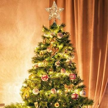 YQing 11.7 Zoll Weihnachten Baumspitze Stern, Christbaumspitze Glitzernden Baumspitze LED Stern Deko Weihnachten Baumkrone Tree Topper für Weihnachtsbaum Dekoration oder Wohnkultur - 7