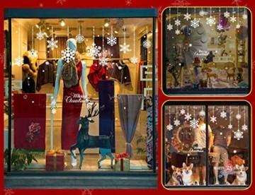 Yuson Girl 8 Blatt Schneeflocken mit Merry Christmas Fensterbild Abnehmbare Weihnachten Aufkleber Fenster Weihnachten Deko Wandtattoo Weihnachten Statisch Haftende PVC Aufkleber - 3