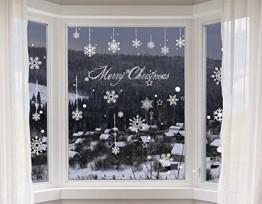 Yuson Girl 8 Blatt Schneeflocken mit Merry Christmas Fensterbild Abnehmbare Weihnachten Aufkleber Fenster Weihnachten Deko Wandtattoo Weihnachten Statisch Haftende PVC Aufkleber - 1