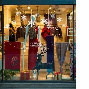 Yuson Girl 8 Blatt Schneeflocken mit Merry Christmas Fensterbild Abnehmbare Weihnachten Aufkleber Fenster Weihnachten Deko Wandtattoo Weihnachten Statisch Haftende PVC Aufkleber - 5