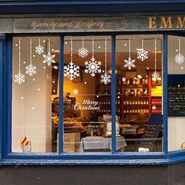 Yuson Girl 8 Blatt Schneeflocken mit Merry Christmas Fensterbild Abnehmbare Weihnachten Aufkleber Fenster Weihnachten Deko Wandtattoo Weihnachten Statisch Haftende PVC Aufkleber - 6