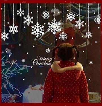 Yuson Girl 8 Blatt Schneeflocken mit Merry Christmas Fensterbild Abnehmbare Weihnachten Aufkleber Fenster Weihnachten Deko Wandtattoo Weihnachten Statisch Haftende PVC Aufkleber - 7