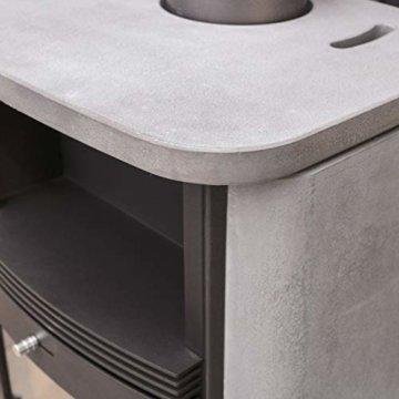 Dauerbrand Kamin-Ofen Caminos Prestige 2.0 guss-grau Speicher-Stein für Scheite Press-Holz Briketts Anthrazit und Braun-Kohle 7kw modern mit Abbrand-Automatik - 3