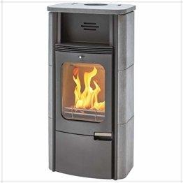 Dauerbrand Kamin-Ofen Caminos Prestige 2.0 guss-grau Speicher-Stein für Scheite Press-Holz Briketts Anthrazit und Braun-Kohle 7kw modern mit Abbrand-Automatik - 1