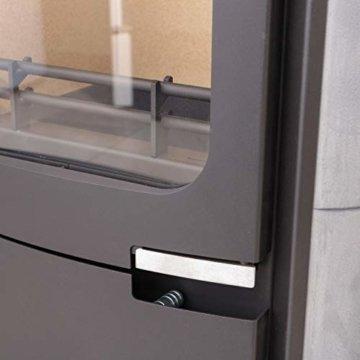 Dauerbrand Kamin-Ofen Caminos Prestige 2.0 guss-grau Speicher-Stein für Scheite Press-Holz Briketts Anthrazit und Braun-Kohle 7kw modern mit Abbrand-Automatik - 5