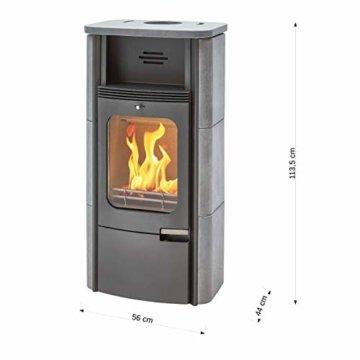 Dauerbrand Kamin-Ofen Caminos Prestige 2.0 guss-grau Speicher-Stein für Scheite Press-Holz Briketts Anthrazit und Braun-Kohle 7kw modern mit Abbrand-Automatik - 7