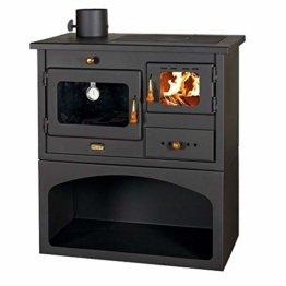 Holzofen mit Kochmöglichkeit und Rauchabzug links, für Festbrennstoff Heizleistung: 10 kW. Backofen und 3 Gusseisen-Herdplatten zum Kochen. - 1