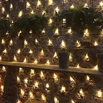 100/160er LED Lichternetz Lichtervorhang Lichterkette Warmweiß Deko Leuchte Innen und Außen Weihnachten Hochzeit mit Stecker gresonic (Dauerlicht, 160LED) - 5