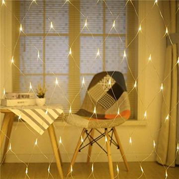 100/160er LED Lichternetz Lichtervorhang Lichterkette Warmweiß Deko Leuchte Innen und Außen Weihnachten Hochzeit mit Stecker gresonic (Dauerlicht, 160LED) - 7