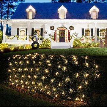 100/160er LED Lichternetz Lichtervorhang Lichterkette Warmweiß Deko Leuchte Innen und Außen Weihnachten Hochzeit mit Stecker gresonic (Dauerlicht, 160LED) - 8
