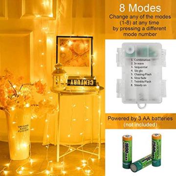 100er LED Outdoor Lichterkette Batterienbetrieben mit Timer Warmweiß deal für CHRISTMAS, Festlich, Hochzeiten, Geburtstag, PARTY, NEW YEAR Dekoration, HÄUSER ETC (8 Modi, Außenbeleuchtung) (2*100er) - 2
