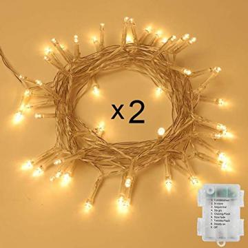 100er LED Outdoor Lichterkette Batterienbetrieben mit Timer Warmweiß deal für CHRISTMAS, Festlich, Hochzeiten, Geburtstag, PARTY, NEW YEAR Dekoration, HÄUSER ETC (8 Modi, Außenbeleuchtung) (2*100er) - 1