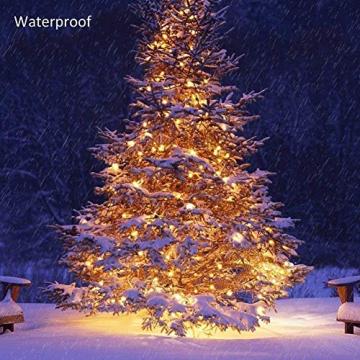 100er LED Outdoor Lichterkette Batterienbetrieben mit Timer Warmweiß deal für CHRISTMAS, Festlich, Hochzeiten, Geburtstag, PARTY, NEW YEAR Dekoration, HÄUSER ETC (8 Modi, Außenbeleuchtung) (2*100er) - 5