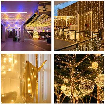 100er LED Outdoor Lichterkette Batterienbetrieben mit Timer Warmweiß deal für CHRISTMAS, Festlich, Hochzeiten, Geburtstag, PARTY, NEW YEAR Dekoration, HÄUSER ETC (8 Modi, Außenbeleuchtung) (2*100er) - 6