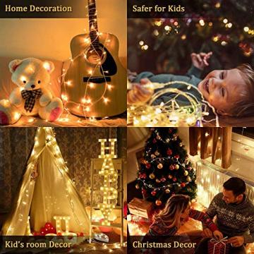 100er LED Outdoor Lichterkette Batterienbetrieben mit Timer Warmweiß deal für CHRISTMAS, Festlich, Hochzeiten, Geburtstag, PARTY, NEW YEAR Dekoration, HÄUSER ETC (8 Modi, Außenbeleuchtung) (2*100er) - 8