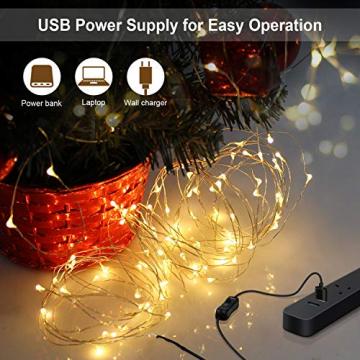 12M Led Lichterkette OMERIL 120er USB Lichterkette Draht Wasserdicht mit Schalter, Stimmungslichter Lichterkette für Zimmer, Innen, Weihnachten, Kinderzimmer, Außen, Party, Hochzeit, DIY usw. Warmweiß - 5
