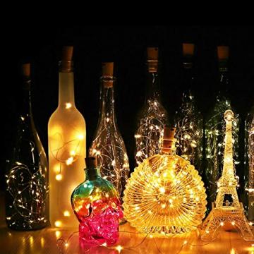 (20 Stück) Flaschen licht, BACKTURE 2M 20 LEDs Flaschenlicht Glas Korken Licht Kupferdraht für flasche für Party, Garten, Weihnachten, Halloween, Hochzeit, außen/innen Beleuchtung Deko (Warmweiß) - 6