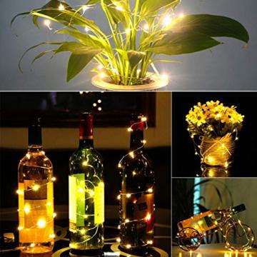 (20 Stück) Flaschen licht, BACKTURE 2M 20 LEDs Flaschenlicht Glas Korken Licht Kupferdraht für flasche für Party, Garten, Weihnachten, Halloween, Hochzeit, außen/innen Beleuchtung Deko (Warmweiß) - 7