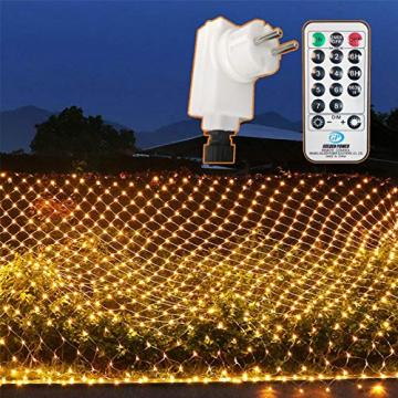 204 LEDs Lichternetz Außen, 3M x 2M Netz Lichterkette Stecker mit Fernbedienung 8 Modi Timer, Wasserdichte Mesh Lichtervorhang, für Christbaum Weihnachten Party Garten Innen Dekorationen, Warmweiß - 1