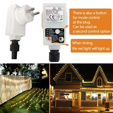 204 LEDs Lichternetz Außen, 3M x 2M Netz Lichterkette Stecker mit Fernbedienung 8 Modi Timer, Wasserdichte Mesh Lichtervorhang, für Christbaum Weihnachten Party Garten Innen Dekorationen, Warmweiß - 5