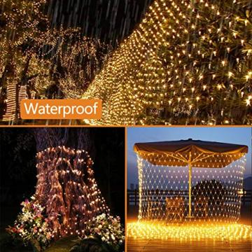 204 LEDs Lichternetz Außen, 3M x 2M Netz Lichterkette Stecker mit Fernbedienung 8 Modi Timer, Wasserdichte Mesh Lichtervorhang, für Christbaum Weihnachten Party Garten Innen Dekorationen, Warmweiß - 6