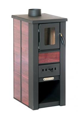 acerto 20119 LAVA Kaminofen Ceramic rot mit Sichtfenster, 35x44x82 cm – Kompakter Premium Holzofen für kleine Räume mit 8,5kW Heizleistung - 1