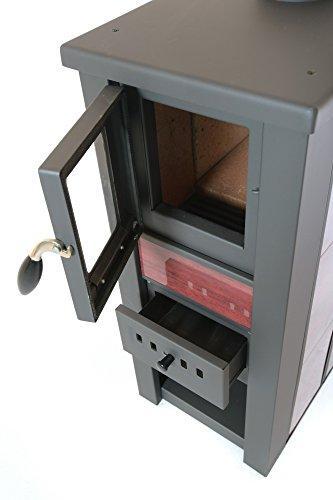 acerto 20119 LAVA Kaminofen Ceramic rot mit Sichtfenster, 35x44x82 cm – Kompakter Premium Holzofen für kleine Räume mit 8,5kW Heizleistung - 4